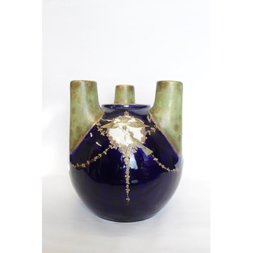 29 - Art Nouveau Reissner, Stellmacher & Kessel Amphora Tura Triple Vase decorated with Bird and figural ...