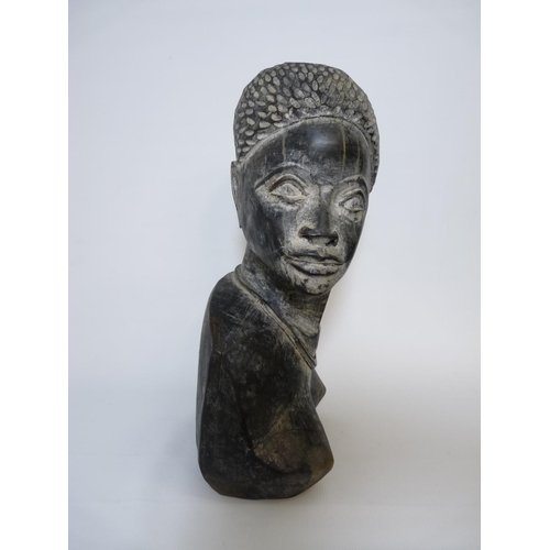 44 - Large Angolan Hardwood African Carved Bust of a Woman...