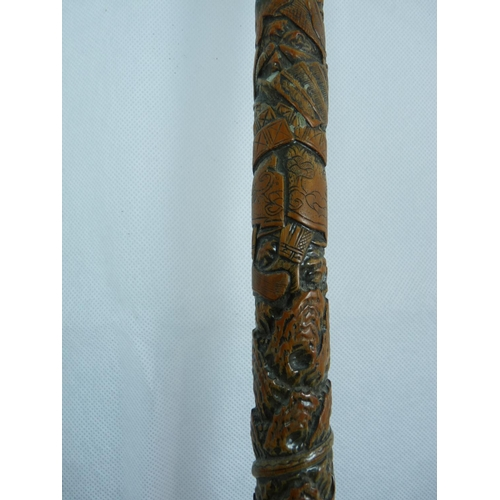 45 - Late 19thC Chinese Carved Bamboo walking Cane with metal ferrule base. 91cm in Length...