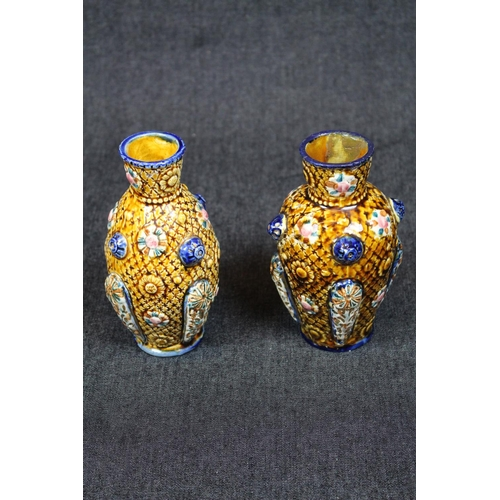 17 - Pair of European vases of floral decoration in the Style of Zolnay, Stamped Al Hambrian, 15.5cm in H...