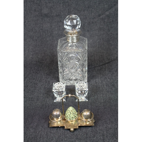 18 - Good quality 20thC Cut Crystal decanter with Silver collar, Pair of Squat Swarovski candlesticks and...
