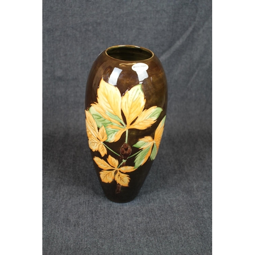 22 - Very Large Moorcroft Chestnut Leaves Tall Vase Limited edition of 19 of 50, impressed mark and signe...
