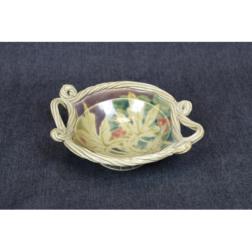 27 - Interesting Studio pottery Desmond Clover two handled bowl with Mulberry decoration, 25cm in Diamete...