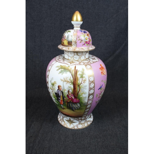 32 - Large Late 19thC European lidded vase decorated with figural & foliate panels with pink ground, Cros...