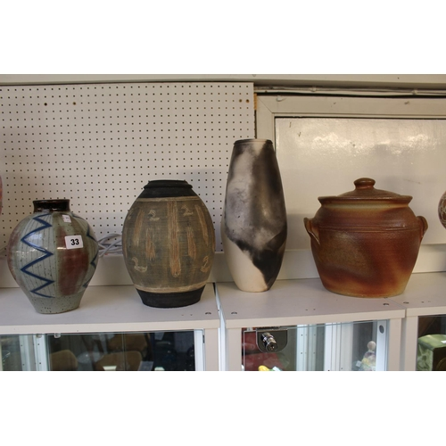 33 - Collection of Studio Pottery inc. Jane Searle stylised Vase, John Leach Pottery lidded jar etc...