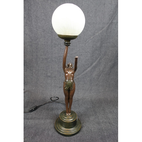 35 - Good quality Reproduction Art Deco Nude table lamp of globe crackle glass shade, 66cm in height...