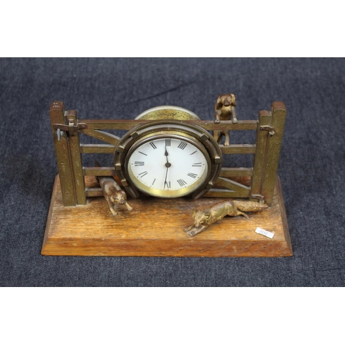 40 - Interesting early 20thC mantel clock stylised as a Farm gate with Fox hunting scene, 16cm in height....