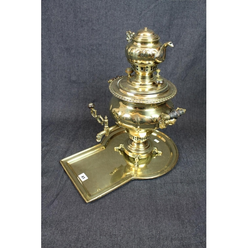 41 - Impressive Russian Brass Samovar with turned handles, with matching surmounted kettle and Tray, Impr...