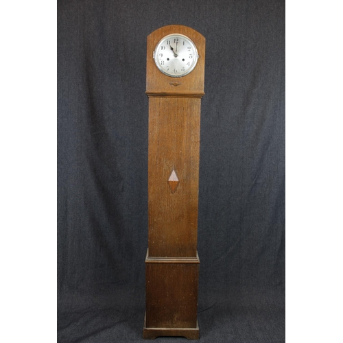 43 - Art Deco Style English Oak cased grandmother clock with Silvered Numeral dial, 127cm in height...