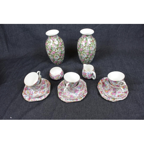 45 - Lord Nelson Ware Marina Chintz part tea set and a a Pair of Crown Ducal Floral Chintz vases. Conditi...