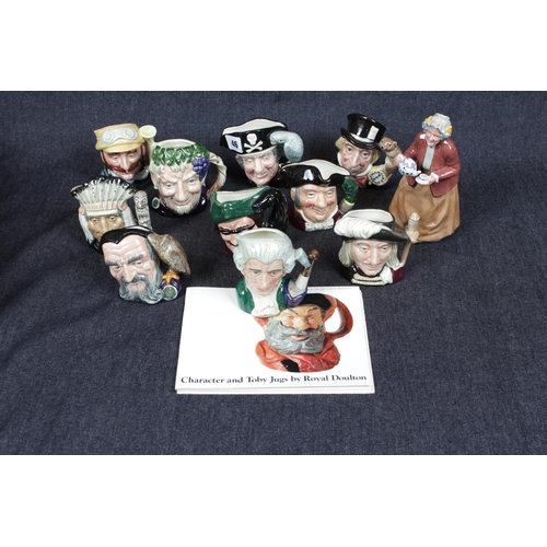 46 - Collection of Royal Doulton Character Jugs (10) with booklet and a Royal Doulton figurine 'Teatime' ...