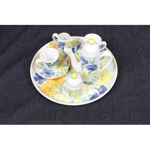 48 - Italian Art Pottery Floral decorated Cabaret Coffee Set for 2...