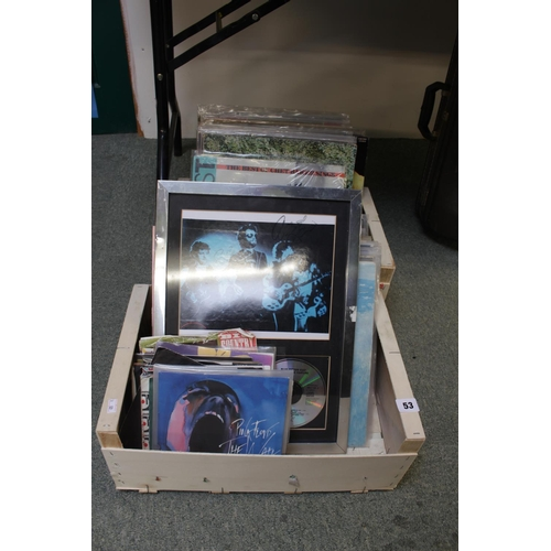 53 - Large collection of assorted Records and Singles inc. Pink Floyd, Gary Moore etc and a Signed Blue O...