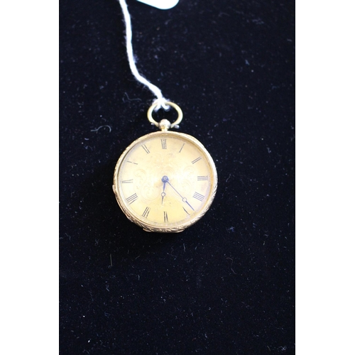 247 - 18ct Gold Continental pocket watch with engraved foliate detail, Roman numeral dial, 32.2g total wei...
