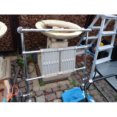 12 - Chrome 1950s Radiator towel rail...