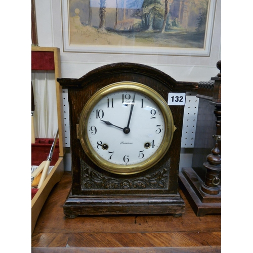 132 - Oak cased Sessions USA mantel clock with enamel face...