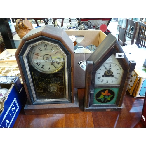 159 - 2 American Walnut mantel clocks with roman numeral dials...