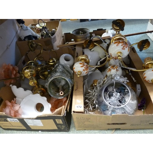 172 - 2 Boxes of assorted light fittings and bygones...