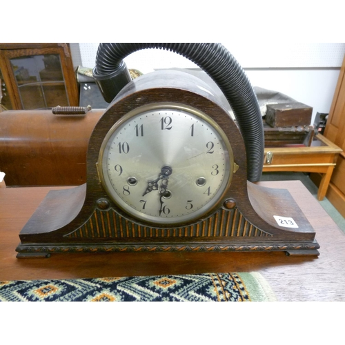 213 - Oak Cased Napoleons Hat mantel clock...