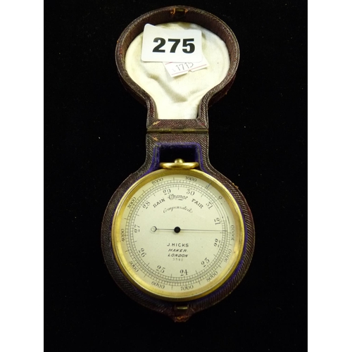 275 - 19thC J Hicks of London pocket Compensating Barometer in fitted leatherette case...