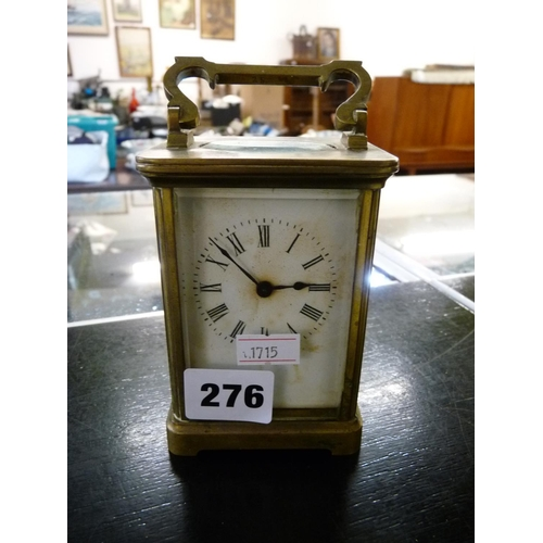 276 - Edwardian Brass Carriage clock with roman numeral dial...
