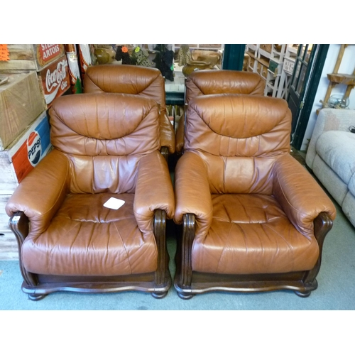 41 - Set of 4 Italian Leather elbow chairs with wooden frames...