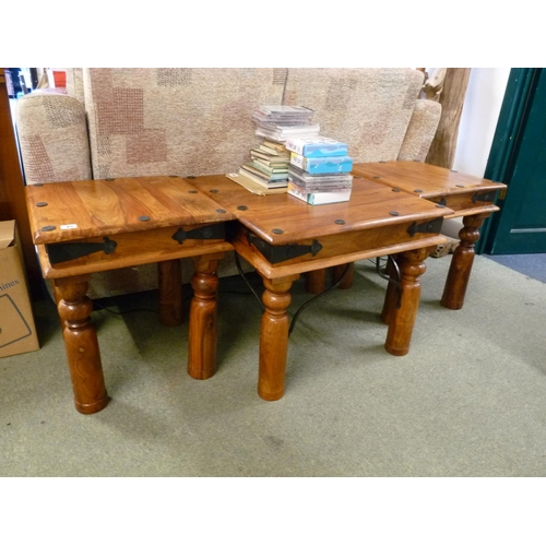 45 - Set of 3 Asian Hardwood tables with metal studded decoration...