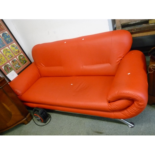 51 - Red Leather effect Sofa on chrome supports...