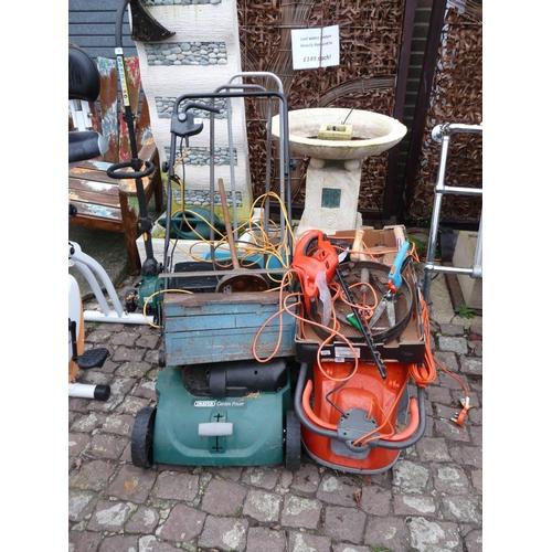 8 - Draper Garden Power scarifier, Flymo and 2 Lawn spreaders...