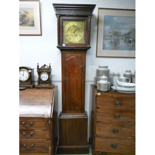 337 - 19thC Brass Faced Longcase clock by William Berry of Minehead, Oak cased...