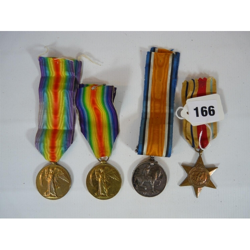 166 - 4 WW1 Medals on Ribbons inc. 1914-18 for 13852 SJT H J Paynter ASC, Civialisation Medal for 2626 PTE...