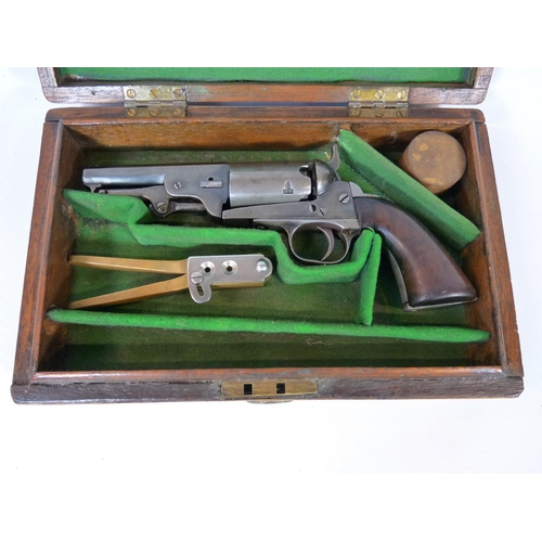 168 - Colt style Percussion revolver C.1860 in fitted wooden case complete with bullet mould and percussio...