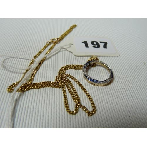 197 - Good Quality Ladies 15ct Gold Sapphire and Diamond set circular pendant on 15ct Gold Chain...