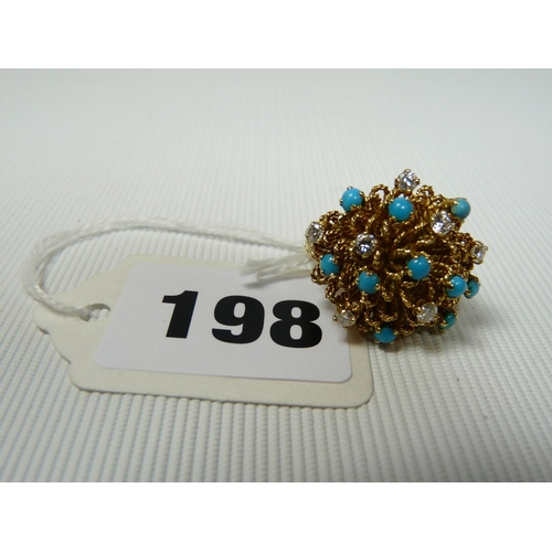 198 - Designer Joseph Kutchinsky 18ct Gold Floral design ring set with Diamonds and Turquoise , 14g total ...