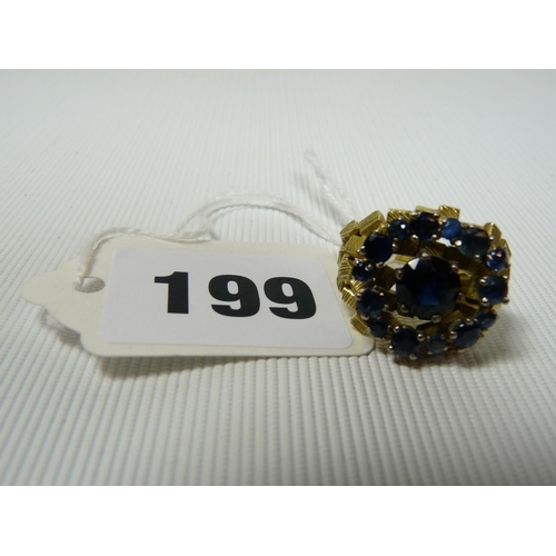 199 - In the style of Joseph Kutchinsky Yellow Gold Nugget design ring set with Sapphires , 14g total weig...