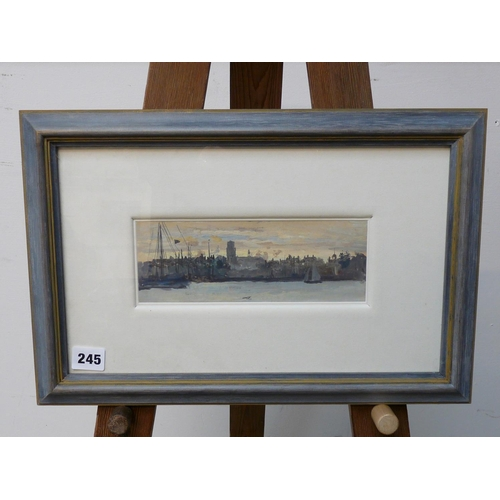 245 - William Lionel Wyllie RA (1851-1931), 'French City Port at Dusk' Oil on paper with Provenance to rev...
