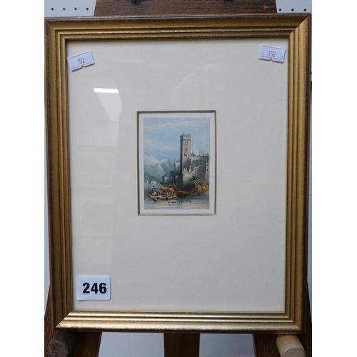 246 - Frederick Bourgeois De Mercey (1803 - 1860) 'Osola Bella - Lago Maggiore' Watercolour on paper, 8 x ...
