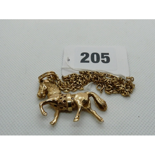 205 - Ladies 9ct Gold Articulated Horse pendant on 9ct Gold Chain, 26g total weight...
