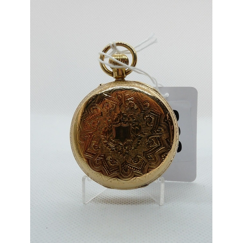 206 - Very good Quality 18ct Gold Pocket watch with Roman Numeral Dial and Second Hand, engraved decoratio...
