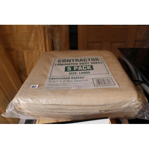 57 - 5 Pack of Contractor Laminated Dust Sheets Large...