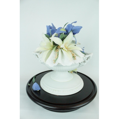 38 - Lladro 'Romantic Vase', under glass dome. Limited Edition 44 of 300. Model 01011787, Introduced in 1...