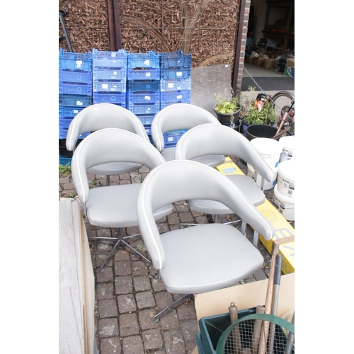 11 - Set of 5 Retro Elbow chairs with Chrome bases...