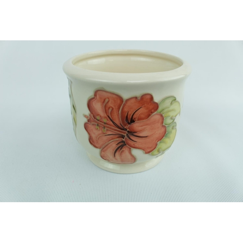 150 - Moorcroft Cream Ground circular planter with Clematis with impressed mark to base...