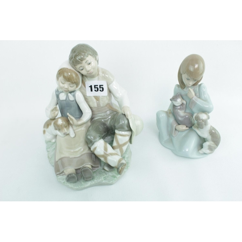 155 - 2 Lladro figures of a Couple on rocky outcrop and another...