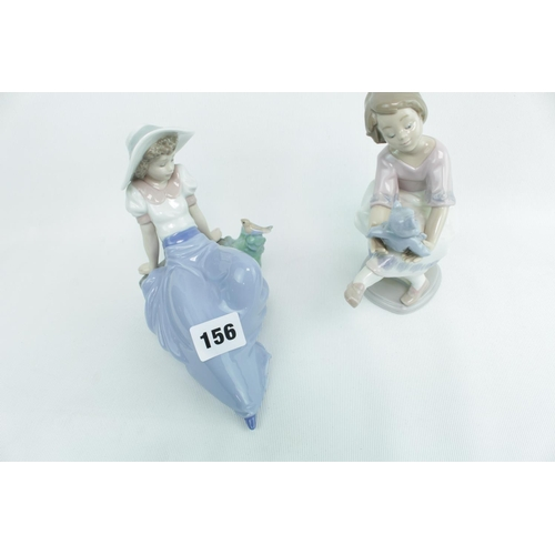 156 - Lladro figure of a girl with Teddy and another Lladro figure...