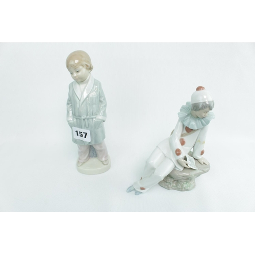157 - Lladro figure of a Pierrot and a Boy with smoking Jacket...