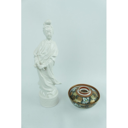 161 - Mid 20thC Blanc-de-chine Guan Yin figurine and a Japanese Meiji period Kutani lidded bowl, 1868 -191...