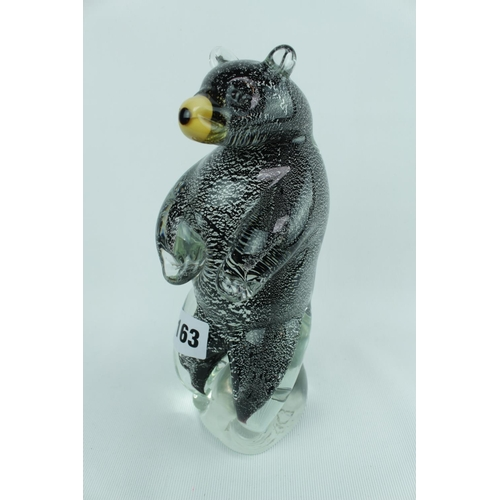 163 - Art Glass figure of a Bear upright signed to base...