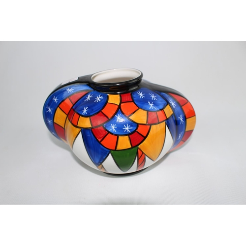 166 - Limited Edition Brian Wood Ceramic Artist Orb Vase  'Carousel' 23 of 50 with certificate 11cm in Hei...