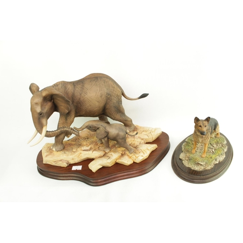 169 - Border Fine Arts 'Cow & Calf African Elephant' 328 of 750 with certificate mounted on wooden plinth ...